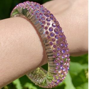 Swarovski crystal lucite bangle pink